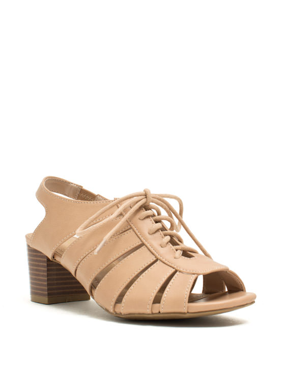 Slit N Tied Low Chunky Heels NUDE