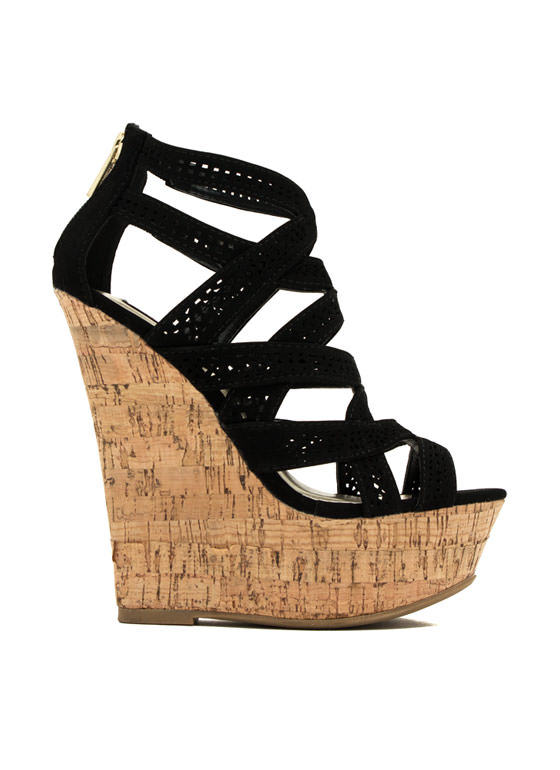 Crisscrossed Paths Faux Nubuck Wedges BLACK