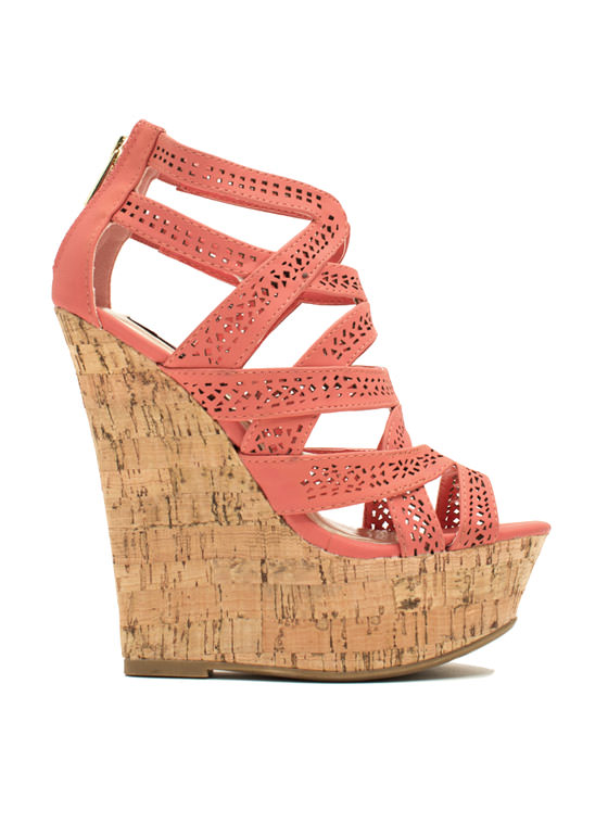 Crisscrossed Paths Faux Nubuck Wedges CORAL