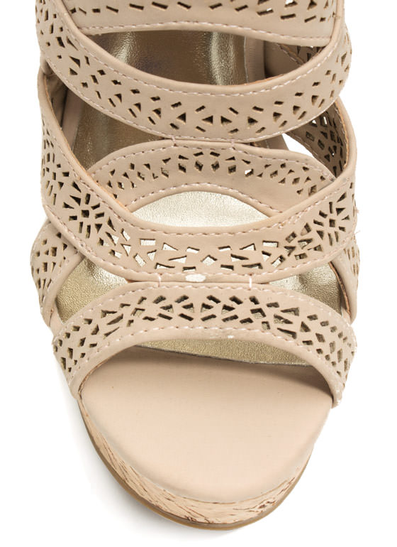 Crisscrossed Paths Faux Nubuck Wedges NUDE