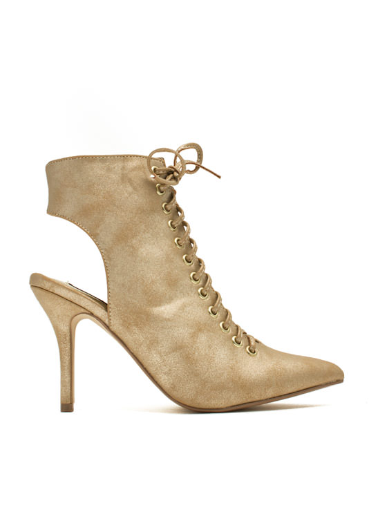 Well Heeled Lace-Up Booties GOLD