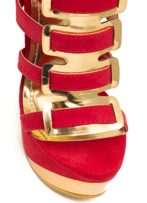 Interwoven Metallic Accent Heels RED