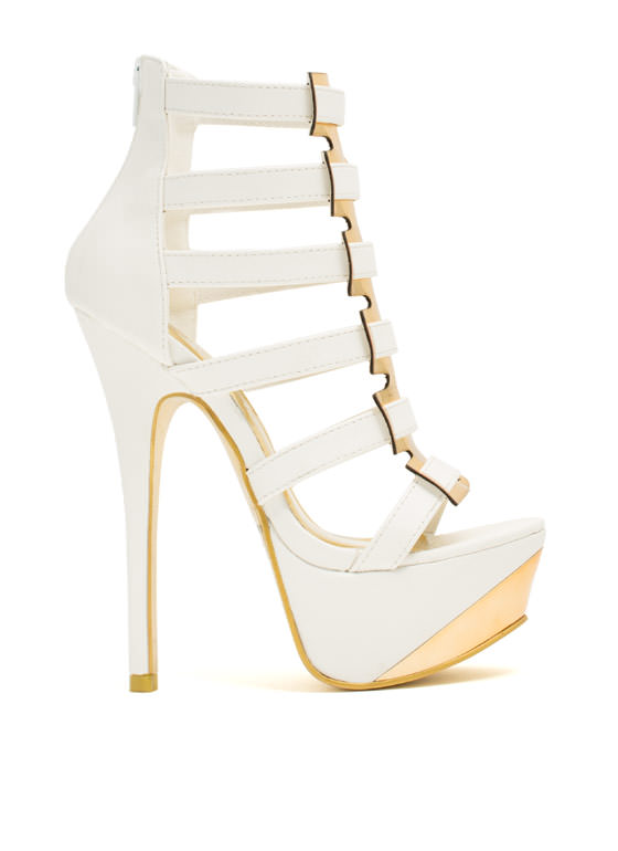Interwoven Metallic Accent Heels WHITE