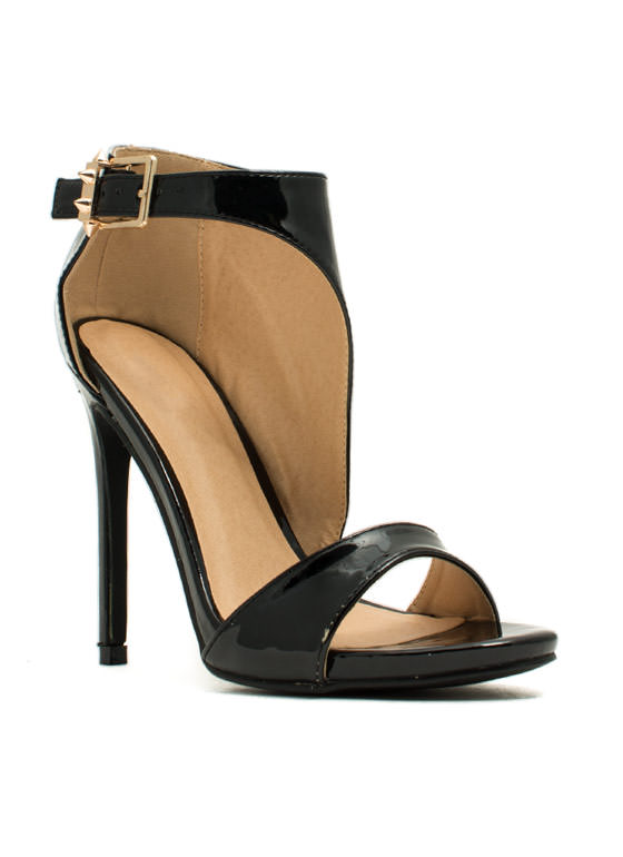 Panel Shield Single-Sole Heels BLACK