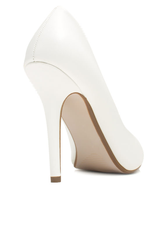 Pump It Up Faux Leather Heels WHITE