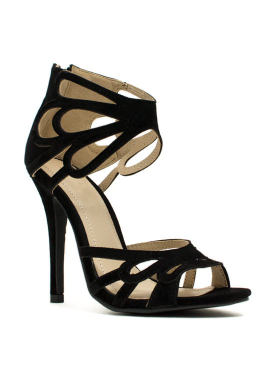 Tear It Up Cut-Out Heels BLACK
