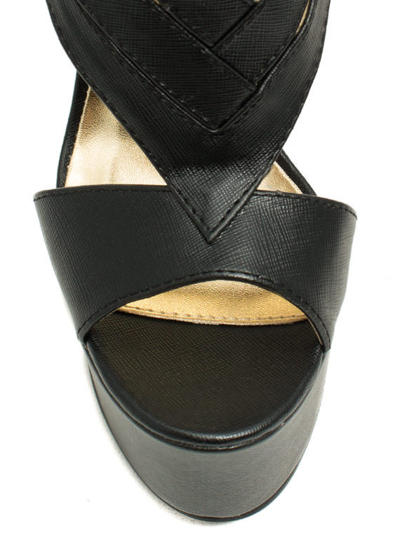 Tri-Buckle Chevron Heels BLACK