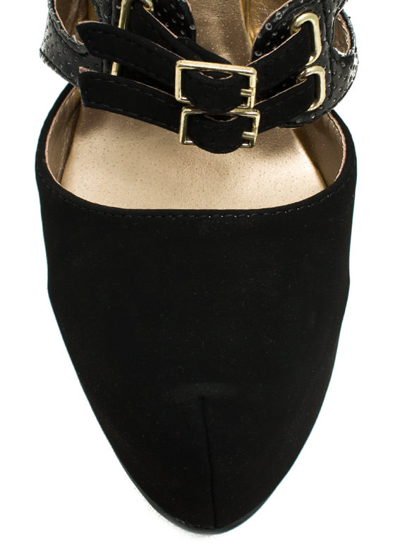 Sheathed N Buckled Heels BLACK