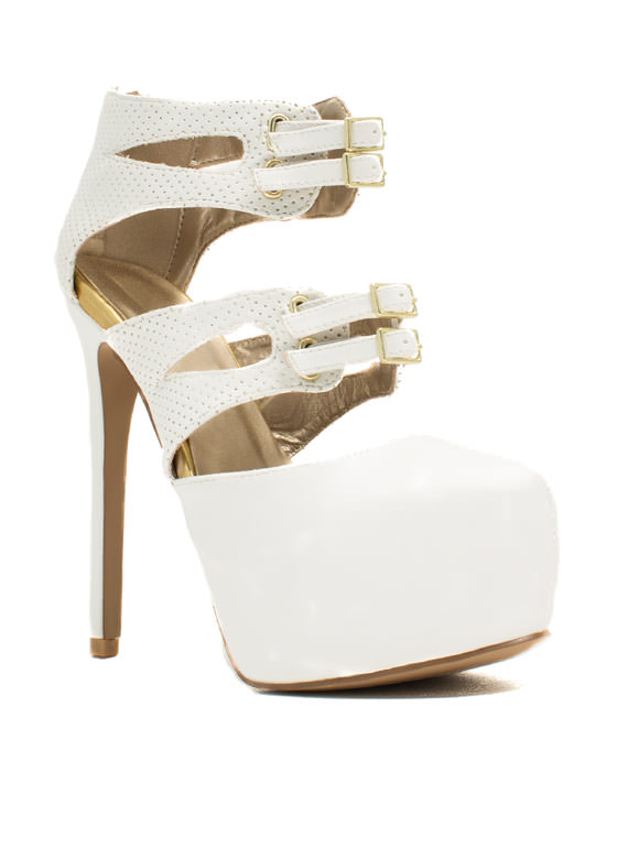 Sheathed N Buckled Heels WHITE