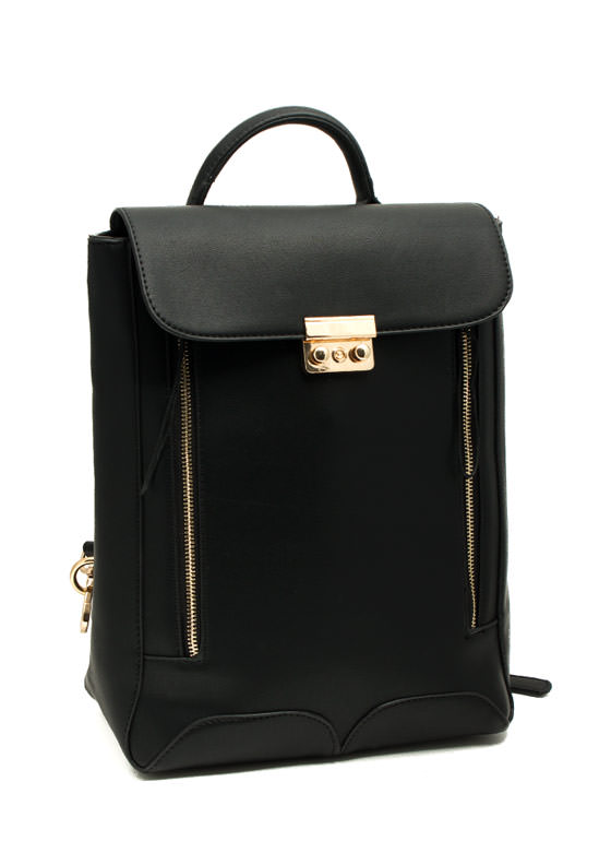 Faux Leather Backpack BLACK
