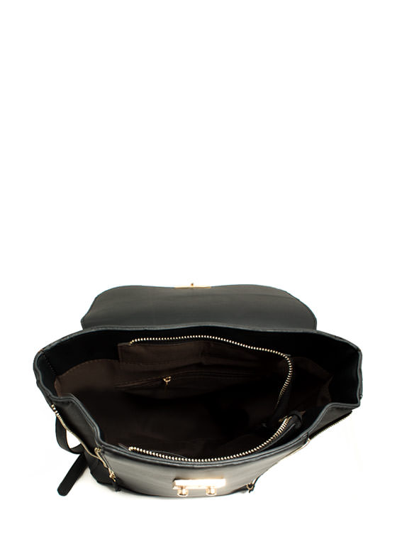 Boxy Double Zipper Backpack BLACK