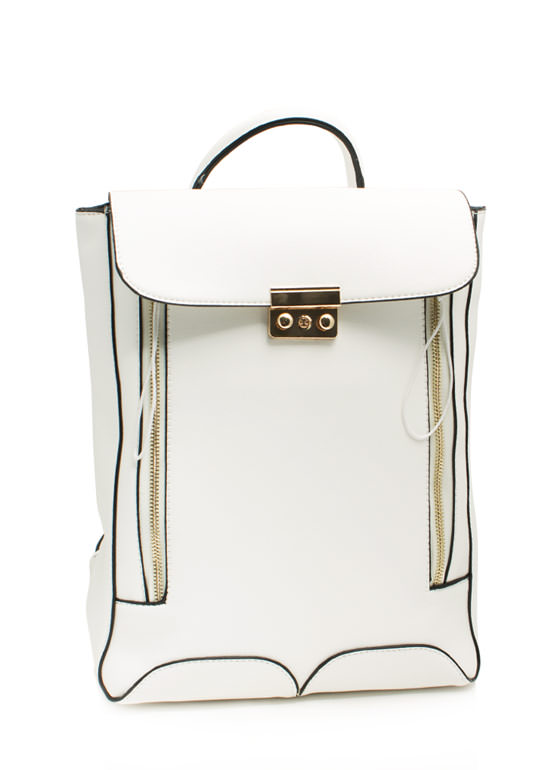 Boxy Double Zipper Backpack WHITE