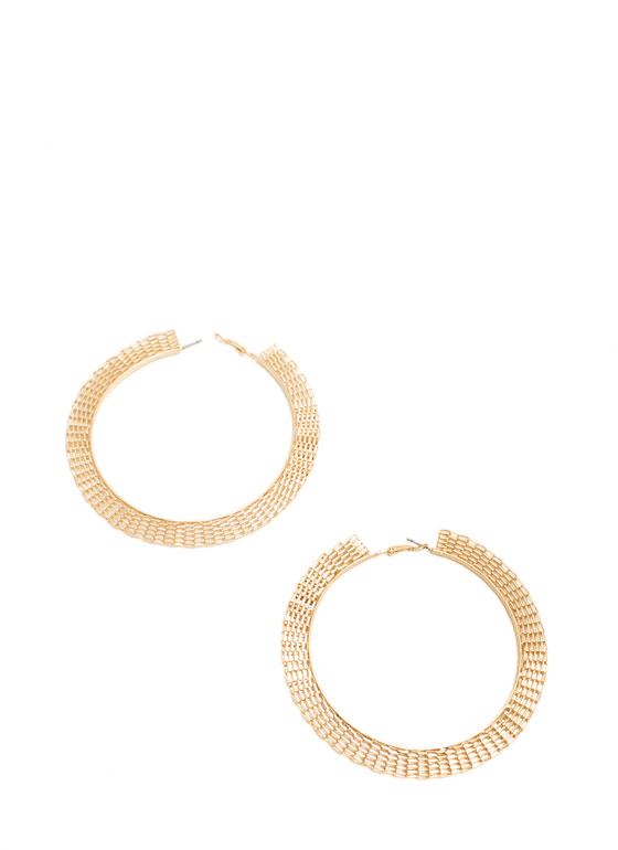 Basketweave Oversized Hoop Earrings GOLD