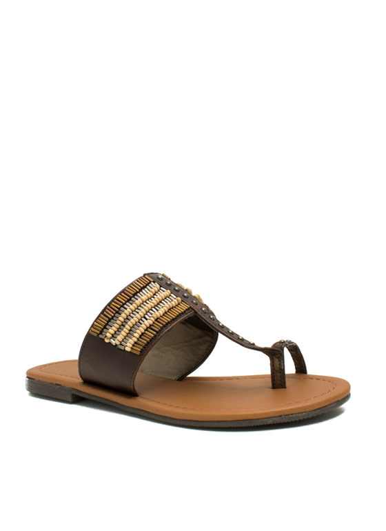 Just Bead It Toe Strap Thong Sandals BROWN
