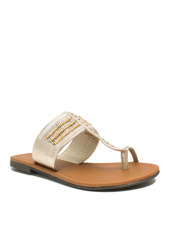 Just Bead It Toe Strap Thong Sandals LTGOLD