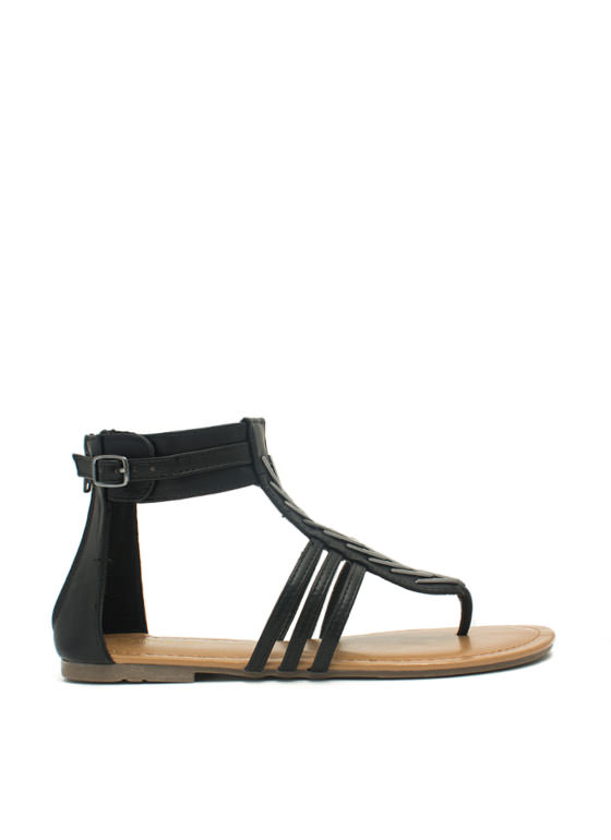 Stacked Chevrons Strappy Sandals BLACK