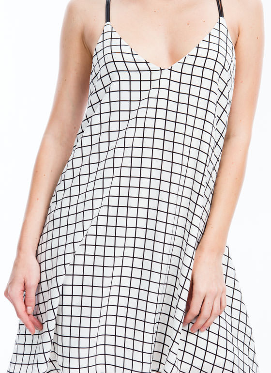 Grid Lineup Cami Shift Dress WHITE
