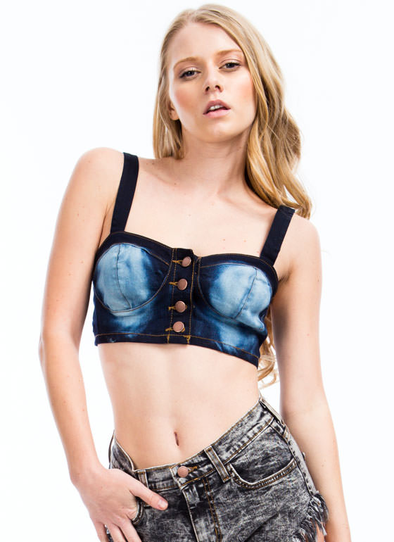 Denim Bustier Cropped Top DKBLUE