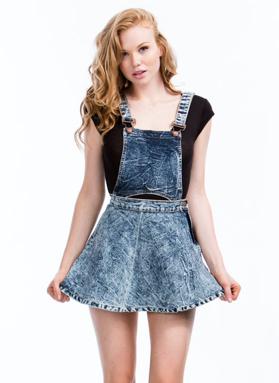 2-In-1 Acid Wash Skirtalls DKBLUE