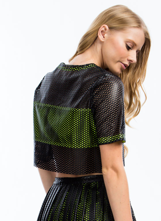 Laser Perforated Faux Leather Top BLACKNLIME
