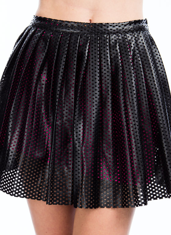 Laser Perforated Faux Leather Skirt BLACKNPINK