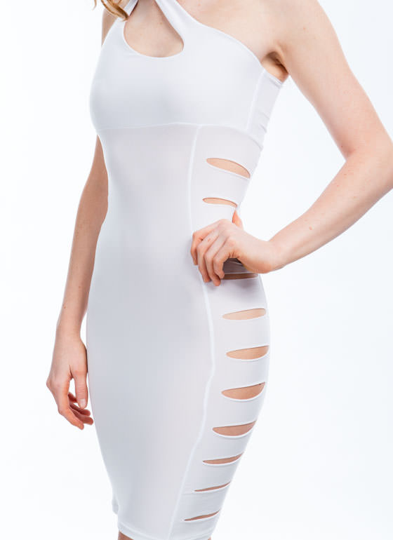 One-Shoulder Shredded Bodycon Dress WHITE