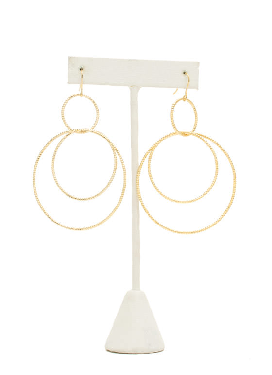 Textured Interlocked Hoop Earrings GOLD