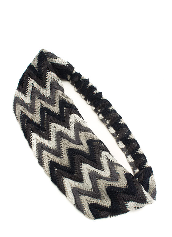 Wide Zigzag Headband BLACKMULTI