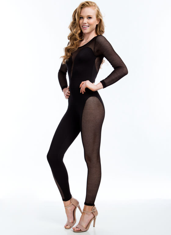 Mesh Paneled Sweetheart Jumpsuit BLACK