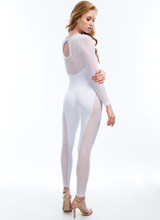 Mesh Paneled Sweetheart Jumpsuit WHITE
