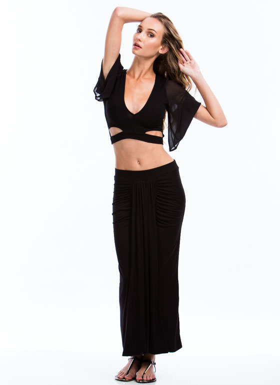 In Drape Demand Gathered Maxi Skirt BLACK