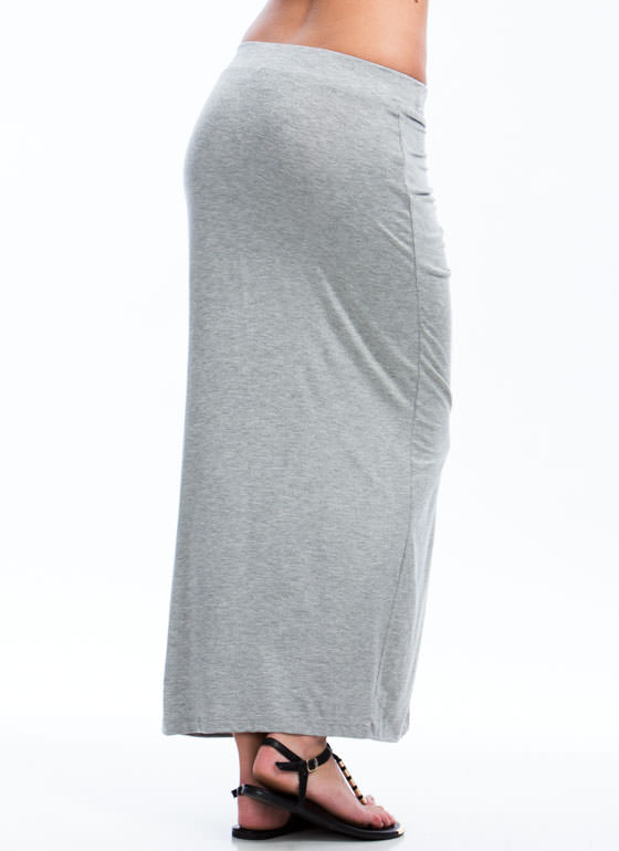 In Drape Demand Gathered Maxi Skirt HGREY