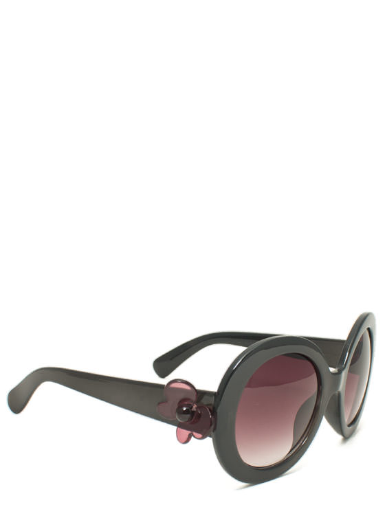 Butterfly Accent Sunglasses BLACK