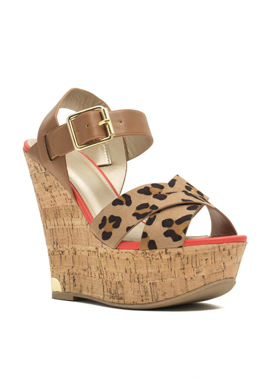 Mixed Up Leopard Platform Wedges TAN
