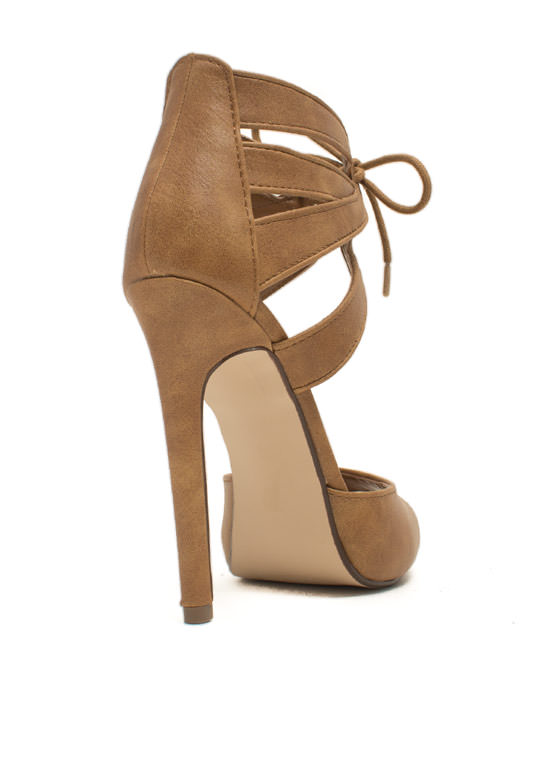 Just Slit Back Lace-Up Heels TAN