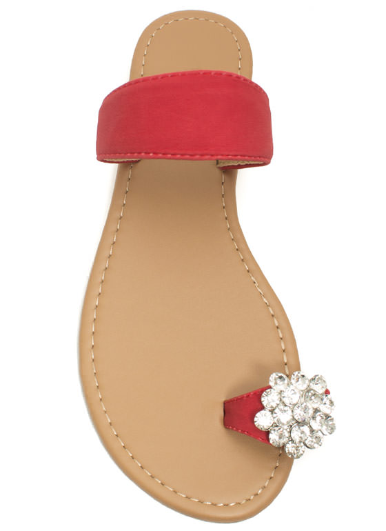 Jeweled Toe Sandals RED