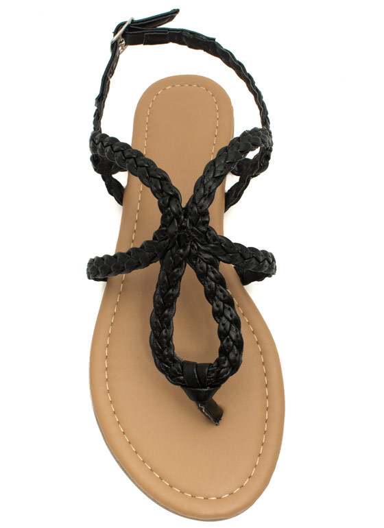 Braided Loop Sandals BLACK