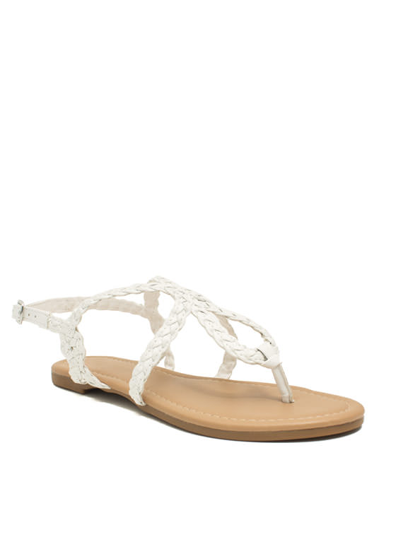 Braided Loop Sandals WHITE