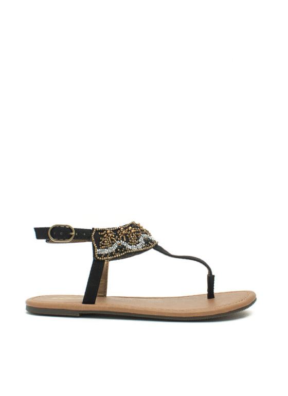 Bead Me To It T-Strap Sandals BLACK