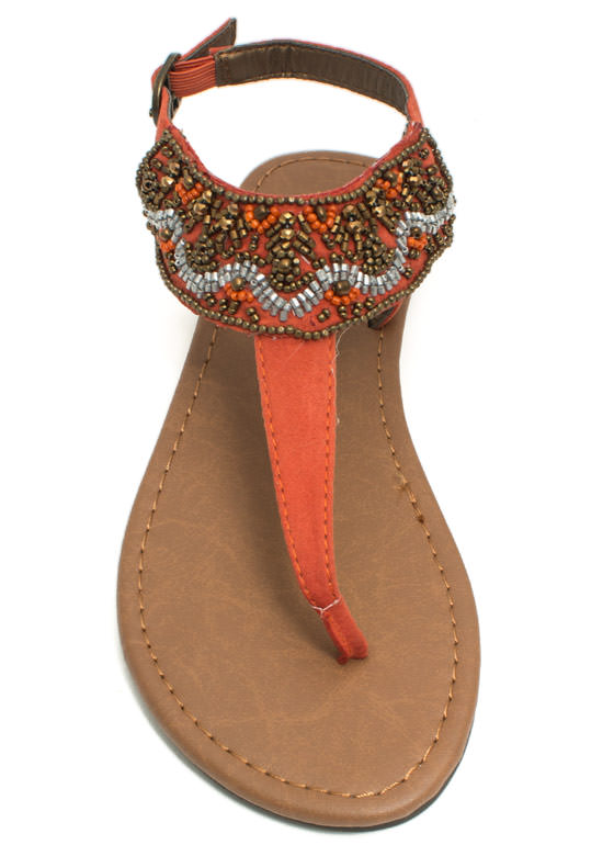 Bead Me To It T-Strap Sandals BURNTORANGE