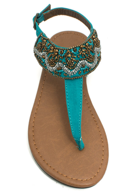 Bead Me To It T-Strap Sandals TEAL