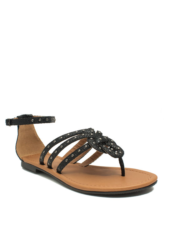 Forget Me Knot Embellished Sandals BLACK