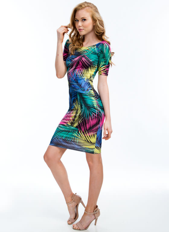 Leaf Me Be Tropical Palm Frond Dress PINKMULTI