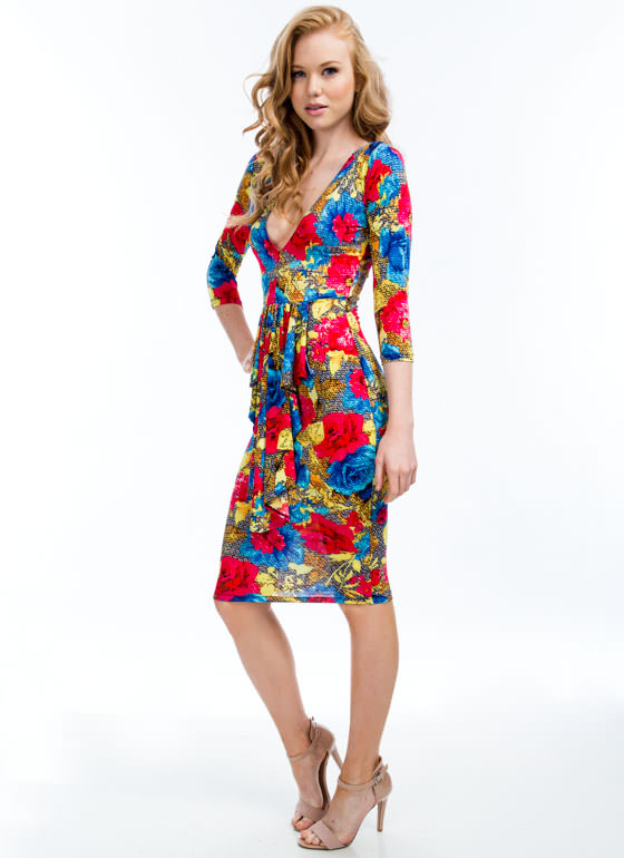 Pixel Perfect Plunging Floral Dress PINKMULTI