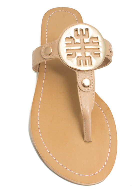 Cut-Out Medallion Thong Sandals NUDE