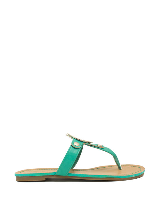 Cut-Out Medallion Thong Sandals SEAFOAM