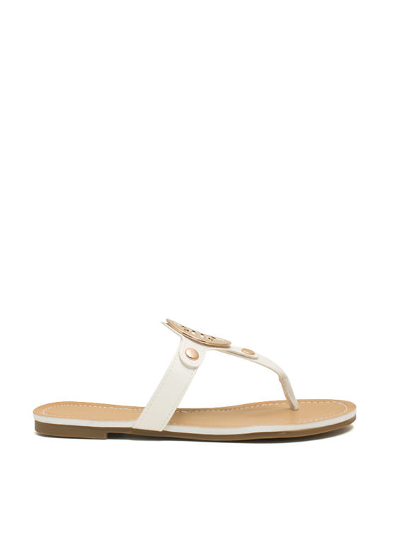 Cut-Out Medallion Thong Sandals WHITE