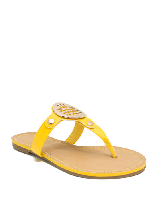 Cut-Out Medallion Thong Sandals YELLOW