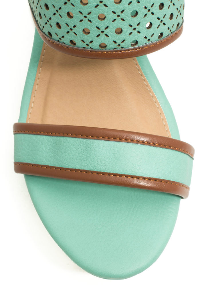 Perfectly Perforated Strappy Wedges MINT