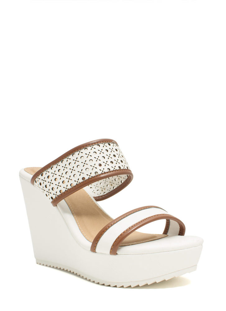 Perfectly Perforated Strappy Wedges WHITE